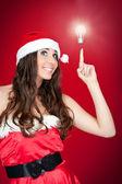Grappige santa vrouw met idee - concept — Stockfoto