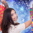 ragazza shopping, neve e inverno — Foto Stock