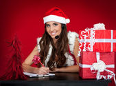 Santa Mädchen, wünscht, Weihnachtsgeschenke — Stockfoto