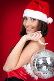 Christmas costume,girl, disco ball — Stock Photo