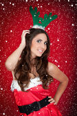 Christmas costume,girl, snow — Foto de Stock