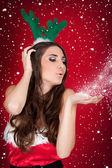 Santa Mädchen, Schnee, Weihnachten — Stockfoto