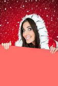 Blank billboard, chrsitmas girl, snow — Stock Photo