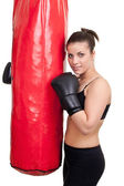 Girl after training with punching bag — Photo