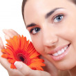 Woman with flower -close up — Stock Photo