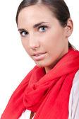 一条红围巾的时尚女人 — 图库照片