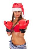 Sexy girl wearing like santa claus — Stock Photo