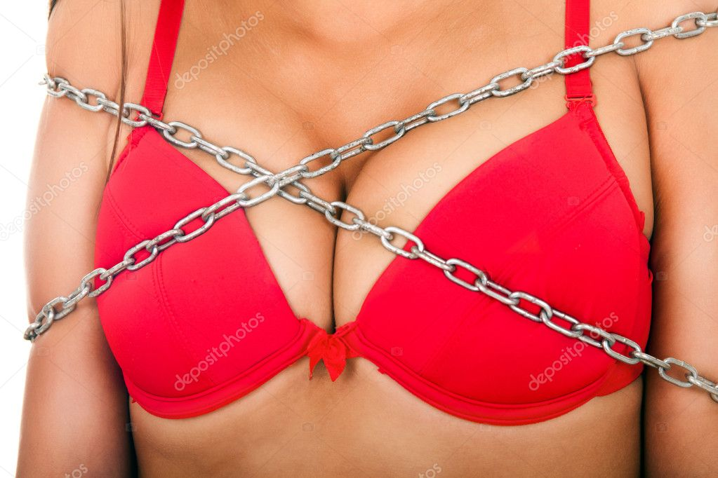 Hot woman with big breast in chain — Stock Photo #5089689