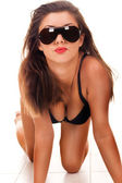 Sexy look with sunglasses — Stock Photo