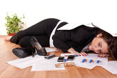 Business woman sleeping on floor — Stock Photo