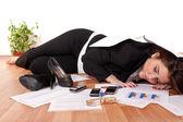 Business woman sleeping on floor — Stock Photo