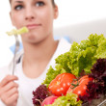 Eating vegetarian salad — Stock Photo #5204178