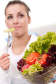 Eating vegetarian salad — Stock Photo