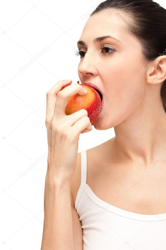 Woman eating healthy food, on white background with apple — Stock Photo #5203834