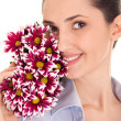 Pretty woman's face with flovers — Stock Photo