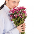Girl in love with a bouquet - Stok fotoğraf