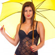 Girl in lingerie posing with umbrella — Stock Photo #5253268