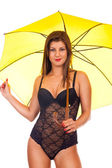 Girl in lingerie posing with umbrella — Stock Photo