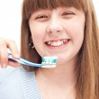 Little girl brushing teeth — Stock Photo #5304927