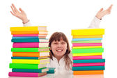 Punctate girl with books — Stock Photo