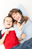 Two young children playing — Stock Photo