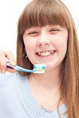 Little girl brushing teeth — Stock Photo