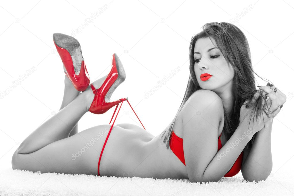Grayscale portrait of naked woman  with red parts  Stock Photo #5304555