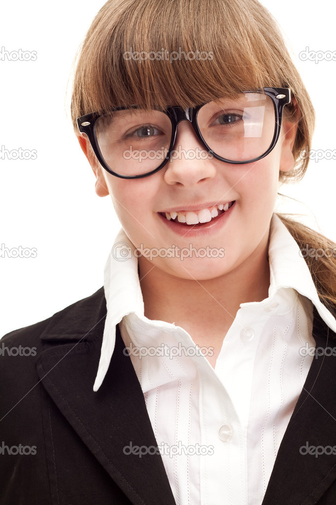 Close up, punctate schoolgirl with glasses, over white background  Stock Photo #5304850