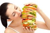 Garota comendo sanduíche, mordida — Foto Stock
