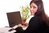 Mulher de negócios, sentado no escritório — Foto Stock