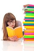 Girl reading on floor — Stock Photo