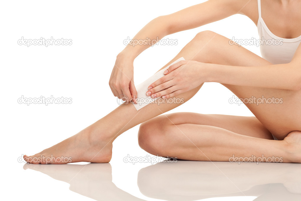 Depilation female legs with waxing, isolated on white background — Stok fotoğraf #5369172