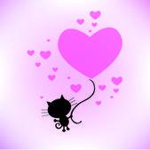 Cat, love you — Stock Vector