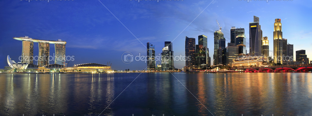 Singapore Skyline from Marina Bay  Esplanade at Night Panorama  Stock Photo #3926222