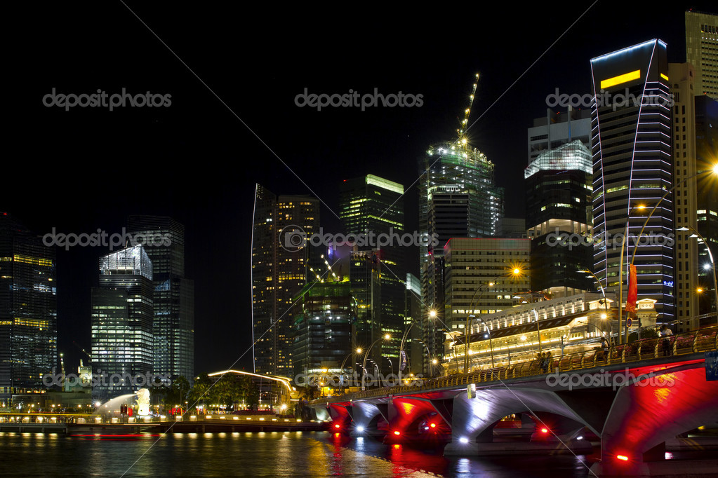 Singapore Skyline from Marina Bay  Esplanade at Night — Stock Photo #3926228