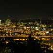 Stock Photo: Portland Night Skyline along Willamette River Panorama