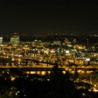 Portland Night Skyline along Willamette River Panorama — Stock Photo