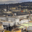 Industrial Area along River Panorama — Stock Photo