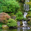 Waterfall at Japanese Garden Panorama — Stock Photo
