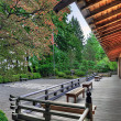 Veranda at the Pavilion in Japanese Garden - Stock Photo