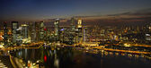 Singapore City Skyline at Dusk Panorama — Stock Photo