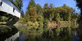 Hoffman krytý most přes potok crabtree — Stock fotografie