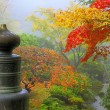 Finial on Wooden Bridge in Japanese Garden — Stock Photo