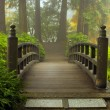 Wooden Bridge at Japanese Garden in Fall — Stock Photo