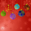 Stock Photo: Hanging Christmas Ornaments with Snowflakes Background 2