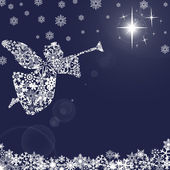 Christmas Angel with Trumpet and Snowflakes 2 — Stock Photo