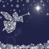Christmas ängel med trumpet och snöflingor 2 — Stockfoto
