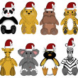 Christmas Wildlife Zoo Animals on White Background — Stock Photo