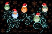 Jul ugglor med tomtemössa på träd på svart — Stockfoto