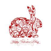 Happy Valentines Day Red Bunny Rabbit — Stock Photo